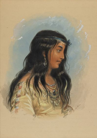 Miller, Alfred Jacob: A Young Woman of the Flat Head Tribe. Fine Art Print/Poster. Sizes: A4/A3/A2/A1 (003820)